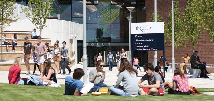 The Forum building on Streatham Campus houses the main library, Student Services Centre, study spaces and a 400-seat auditorium, as well as a shop, bank and café.